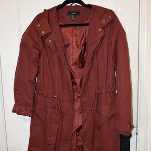 Burgundy Long Trench Jacket